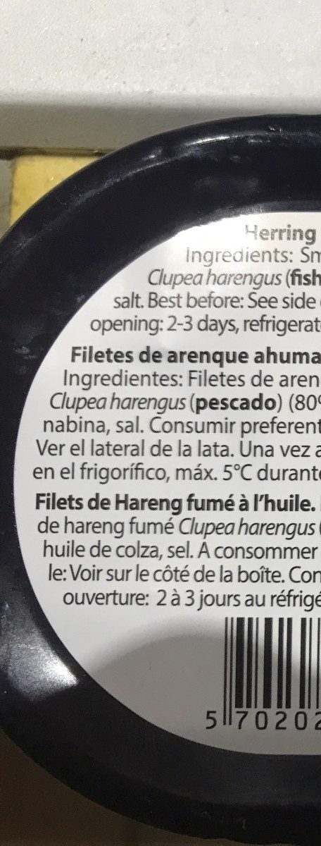 Filets de hareng fumé à l'huile - Ingredients - fr