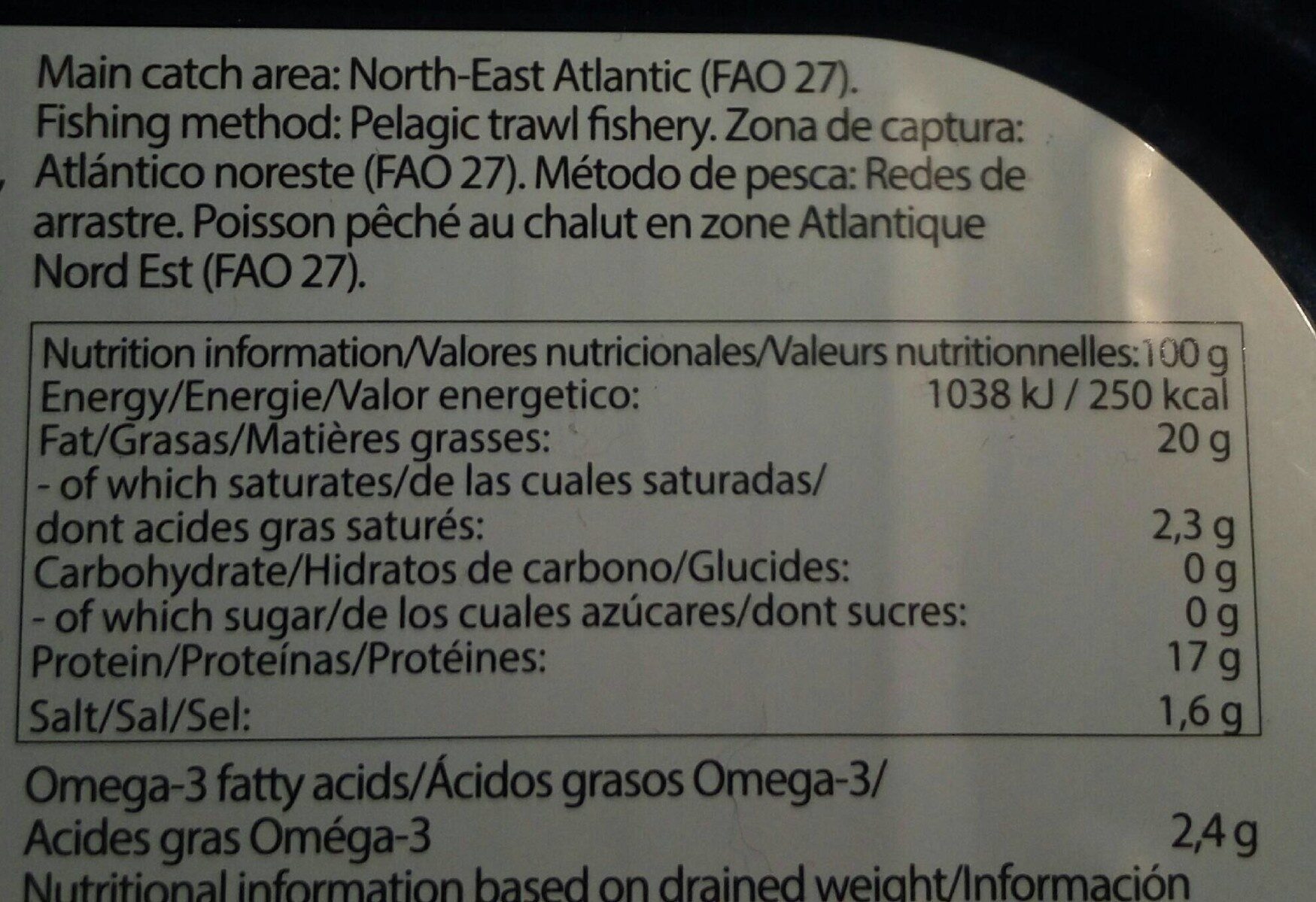 Filets de hareng fumé à l'huile - Nutrition facts - fr