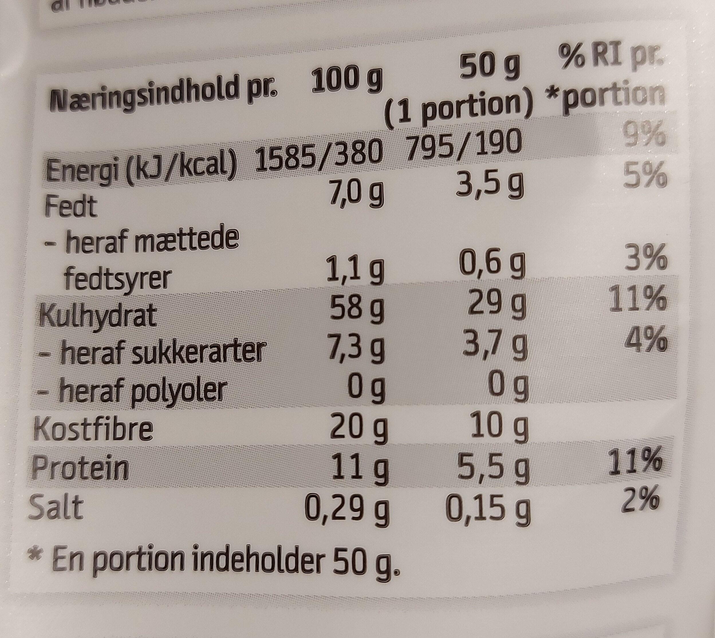 Classic Crunch - Informations nutritionnelles - da