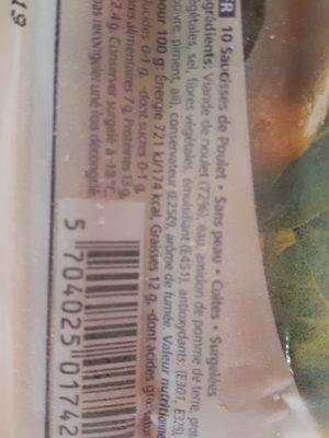 Saucisses de poulet - Ingrédients - fr