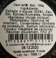 Caviar à base d'algues - Ingrediënten