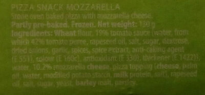 Nice 'n easy Stone oven pizza Mozzarella - Ingredients