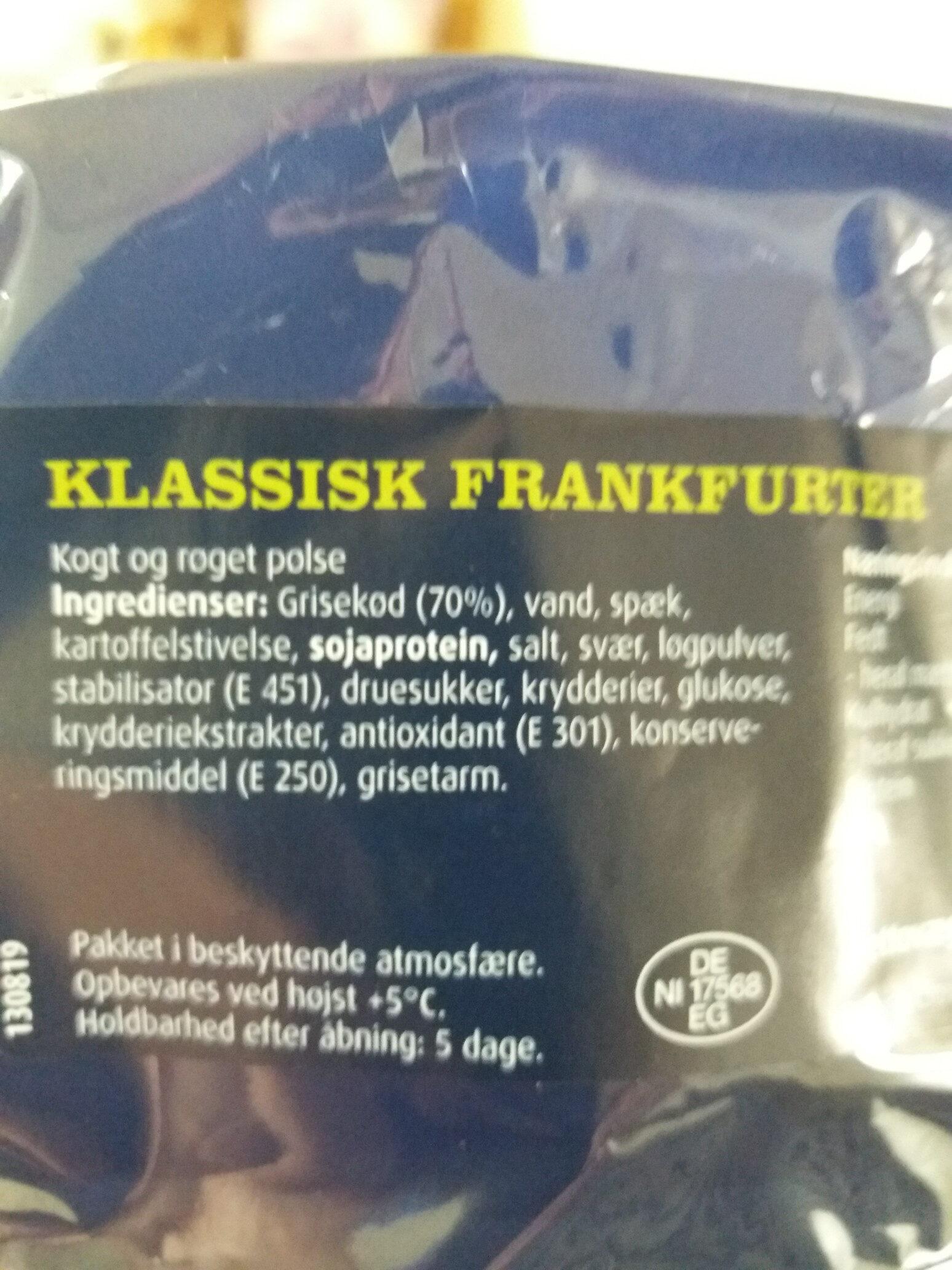 Klassisk Frankfurter - Ingrediënten - da