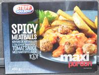Spicy meatballs krydrede kødboller i italiensk inspireret tomatsauce med kartoffelbåde - Produit - en