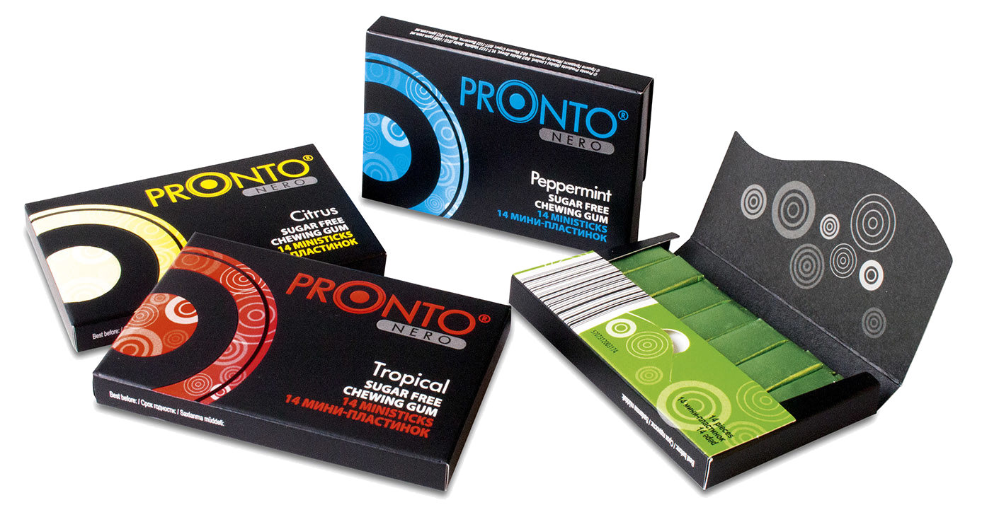 Pronto® Nero Tropical Sugar Free Chewing Gum in an Envelope Pack -