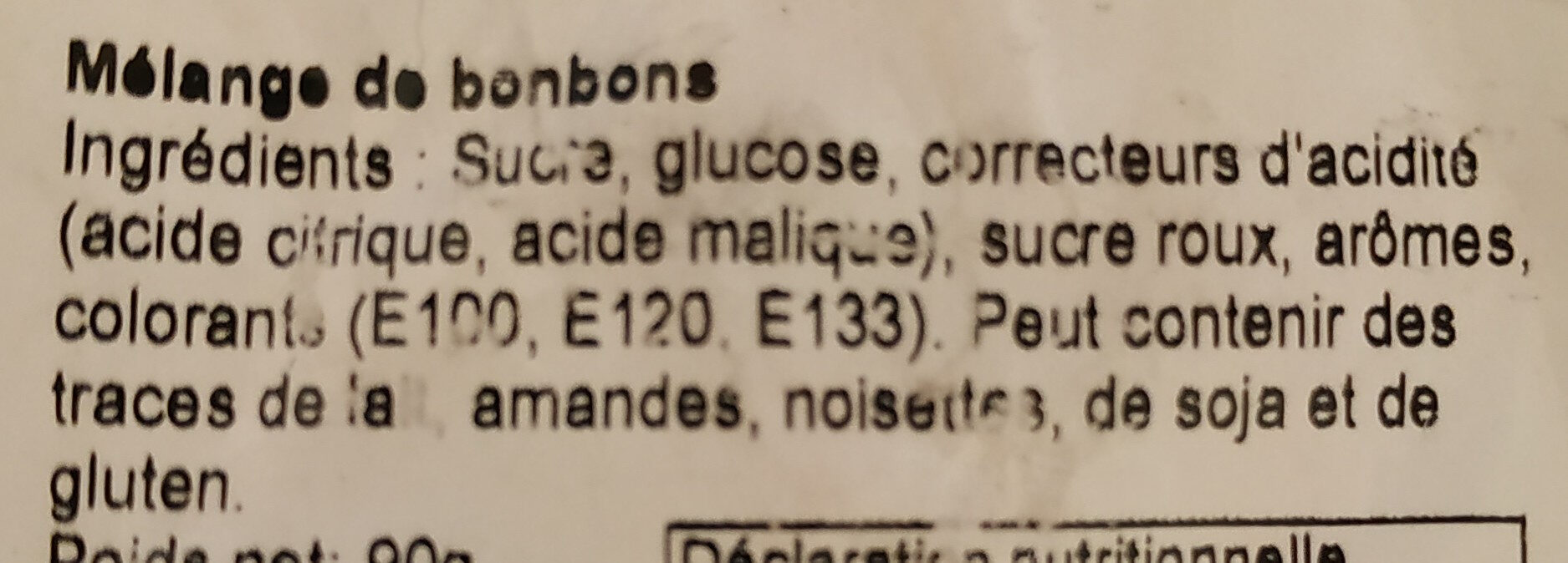 Mélange de bonbons - Ingredients