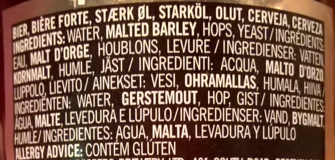 Brooklyn east IPA - Ingredients