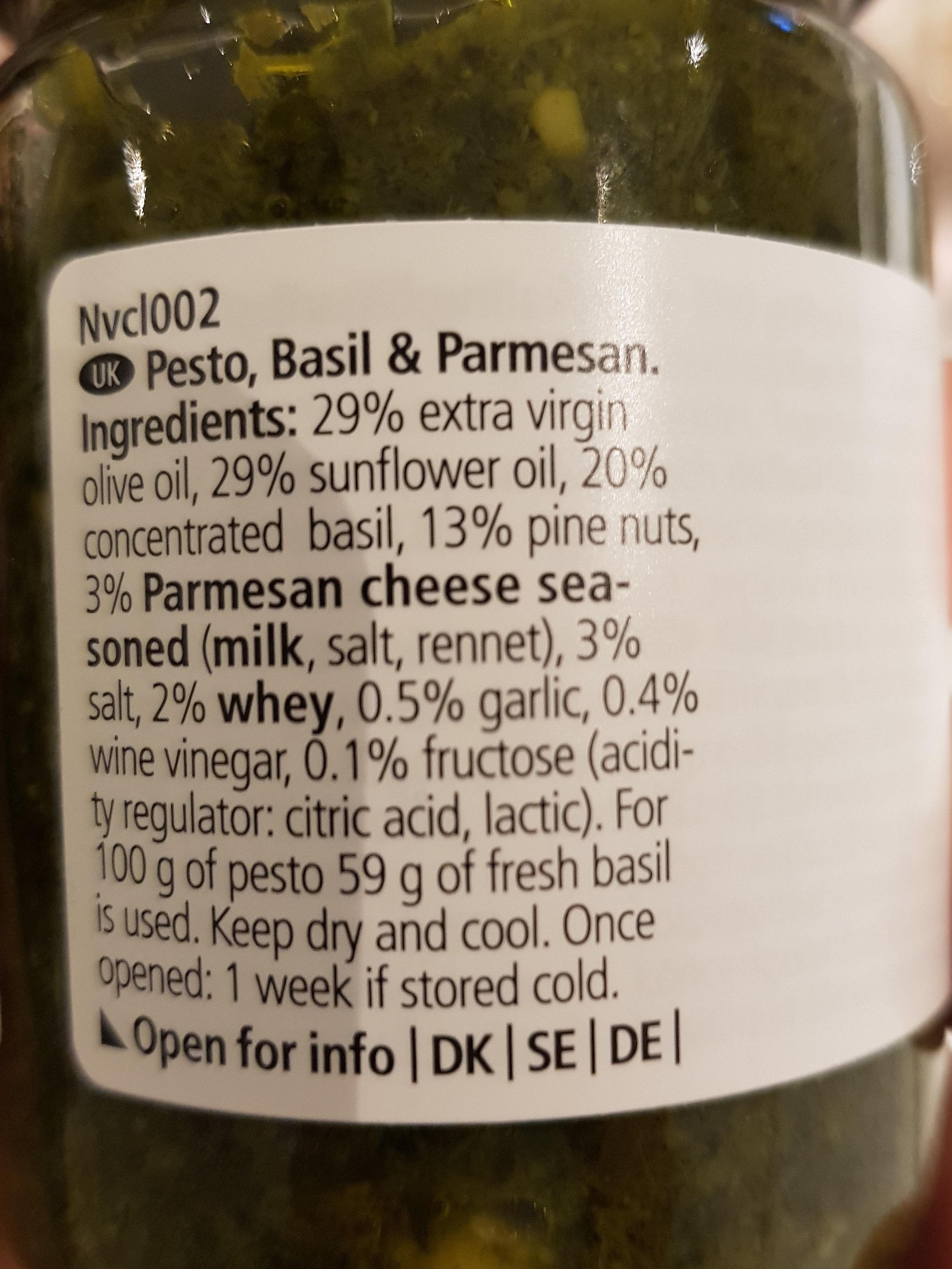 Pesto Basil & Parmesan - Ingrédients