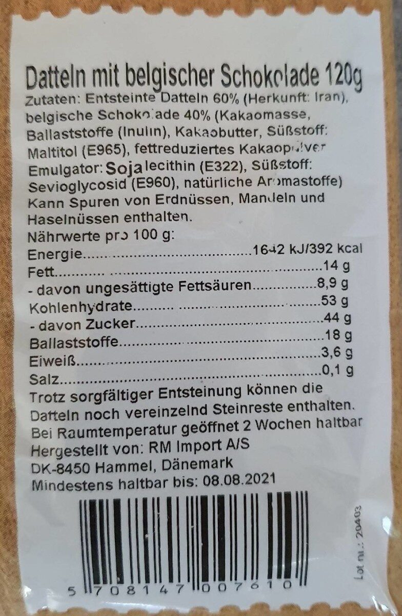 Datteln mit belgischer Schokolade - Valori nutrizionali - de