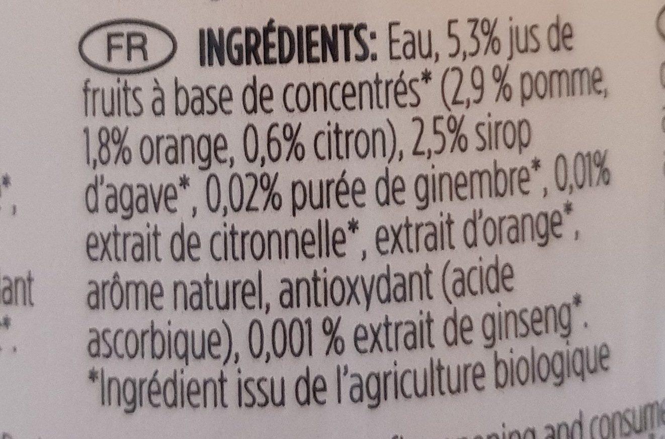 Organic Energiser Lemongrass Orange Ginger Ginseng Agave - Ingrediënten - fr