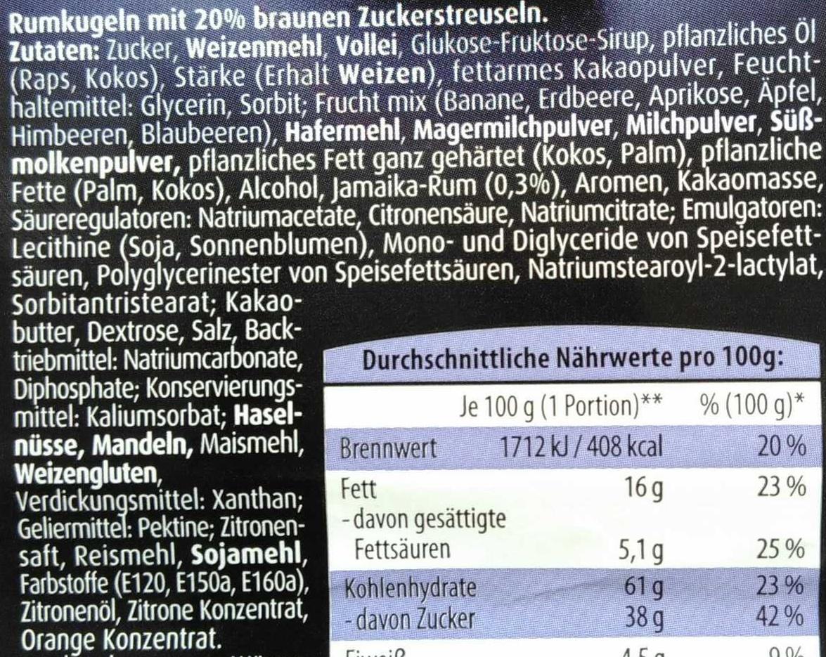 Rumkugeln - Ingredients