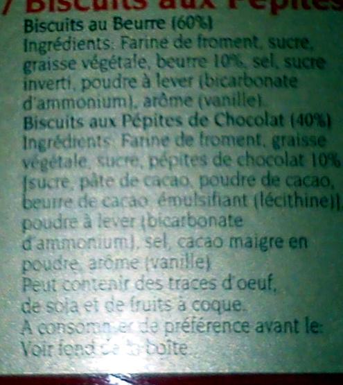 Biscuits au Beurre et Biscuits aux Pépites de Chocolat - Boite Métal Collection Noël - Ingrediënten - fr