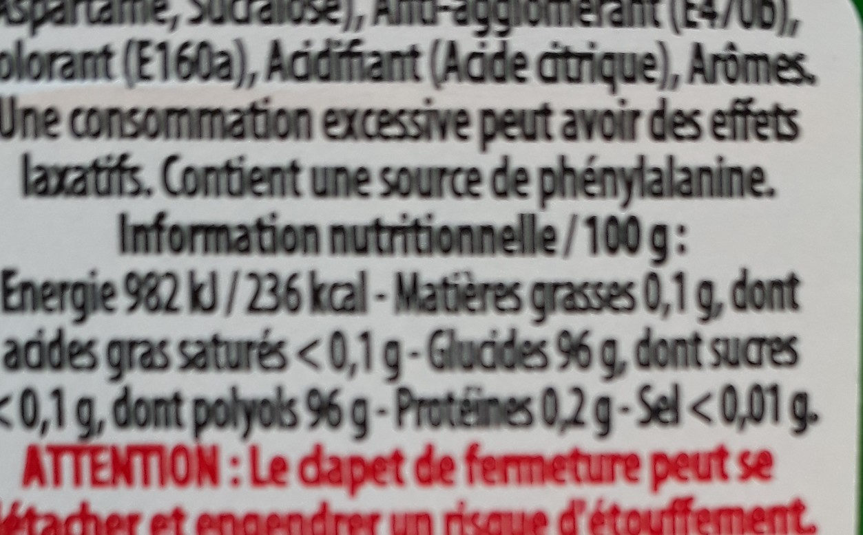 Mini Mints Fruits d'été - Nutrition facts