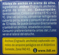 Filetes de anchoa en aceite de oliva - Ingredientes - es