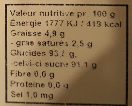 Vermicelles à la Réglisse - Nutrition facts