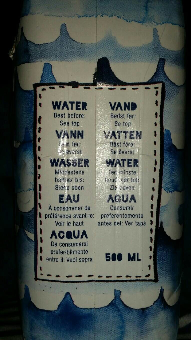A box of water with love from Anna & Clara - Nutrition facts