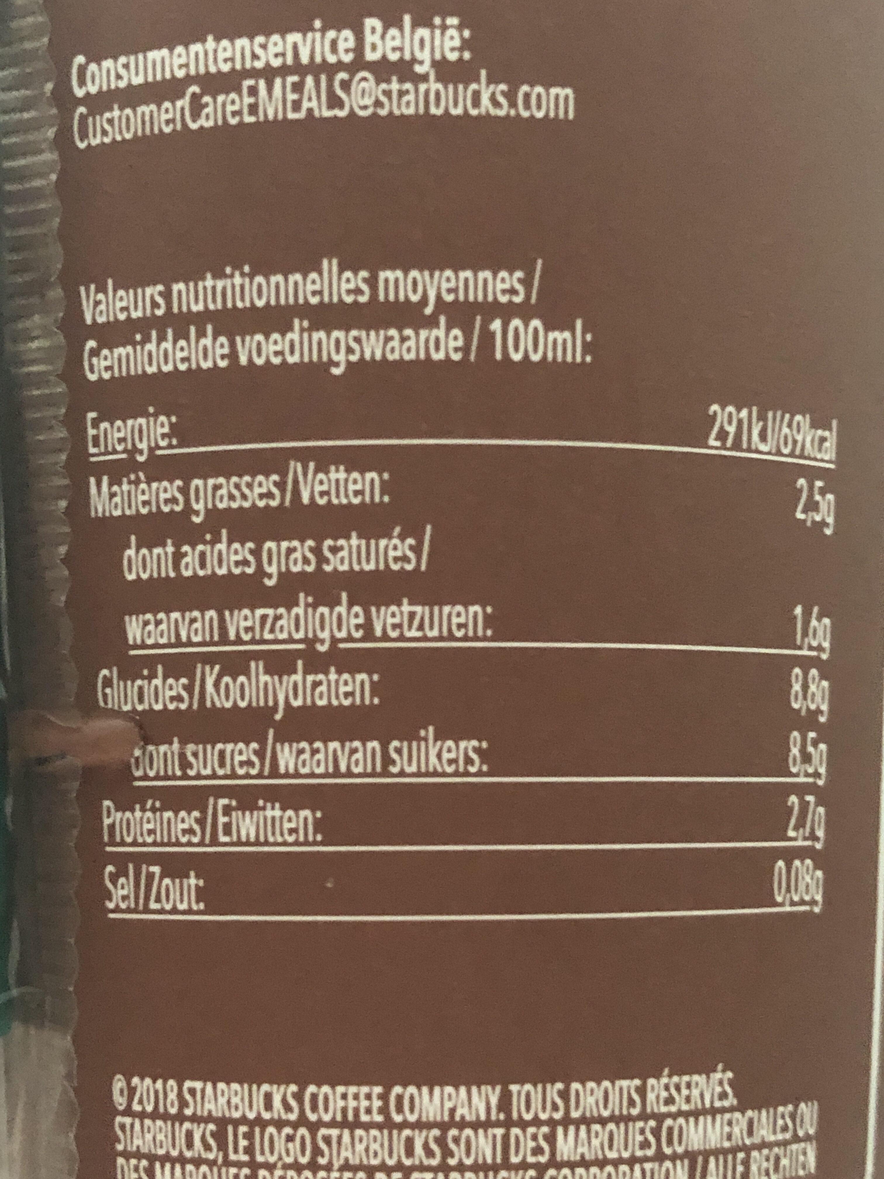 Starbucks Cappuccino - Voedingswaarden - fr