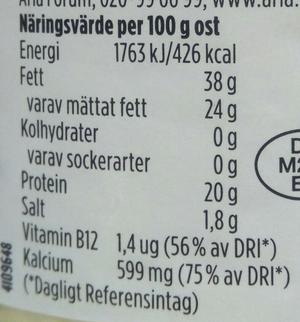 Åseda Gräddost - Voedingswaarden - sv
