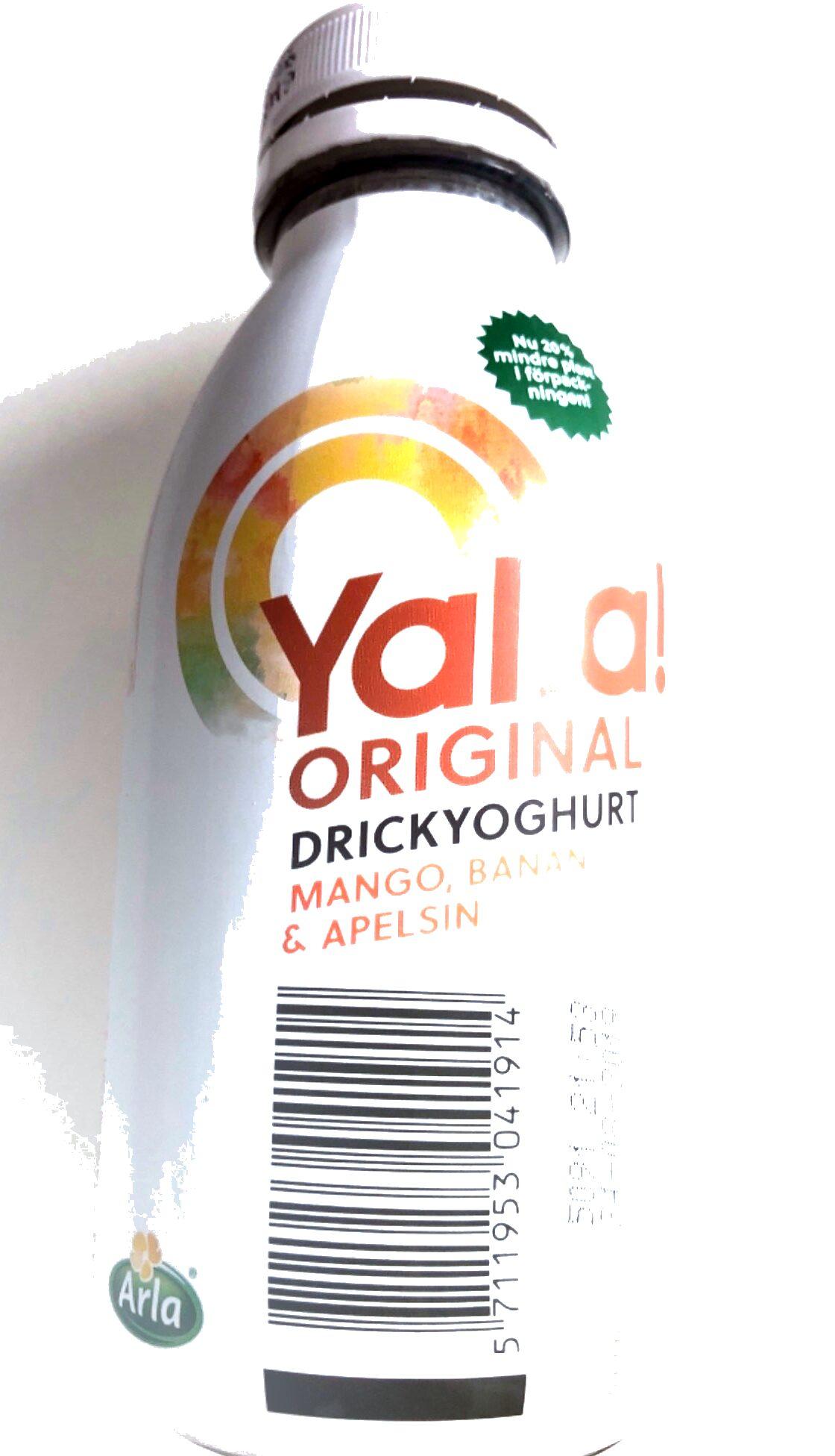 Yalla original drickyoghurt mango, banan & apelsin - Product - sv