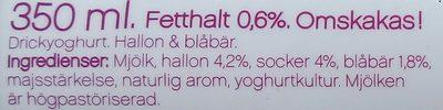 Yoggi yalla! Drickyoghurt Hallon Blåbär - Ingrédients