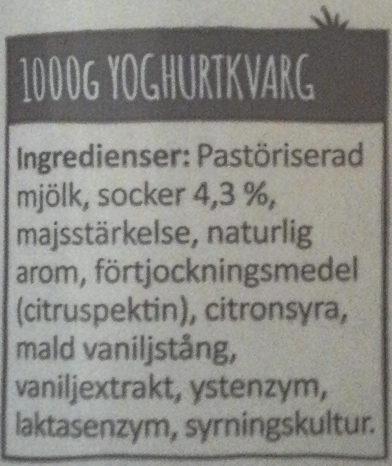 Arla Yoghurtkvarg Vanilj laktosfri - Ingrediënten - sv