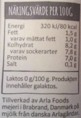 Arla Yoghurtkvarg Vanilj laktosfri - Voedingswaarden - sv