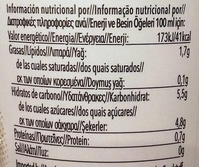 Iced coffee - Información nutricional