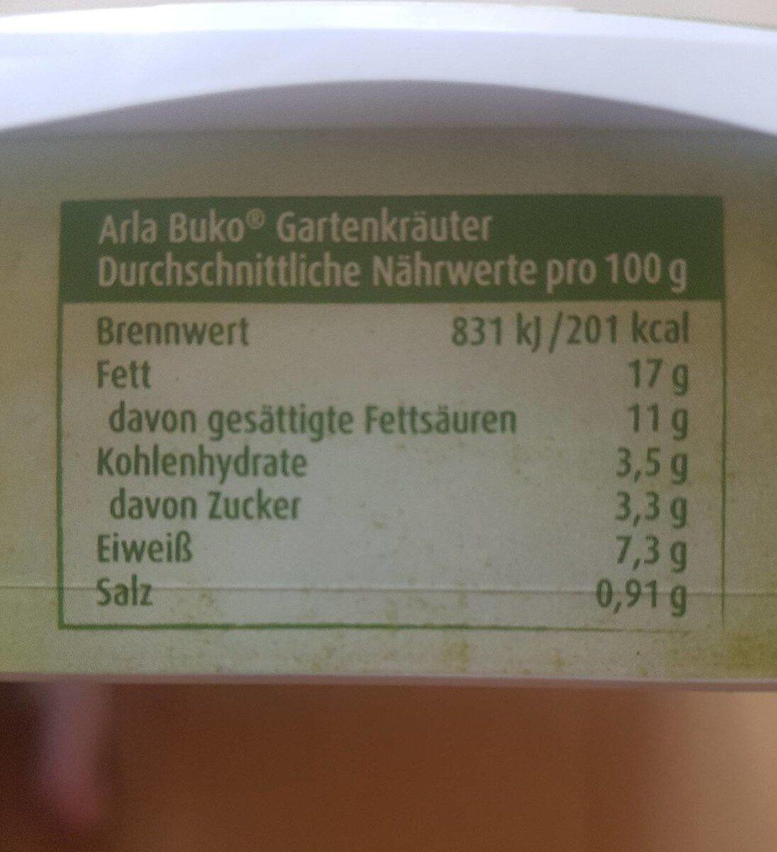 Buko Garten Kräuter - Nährwertangaben - de