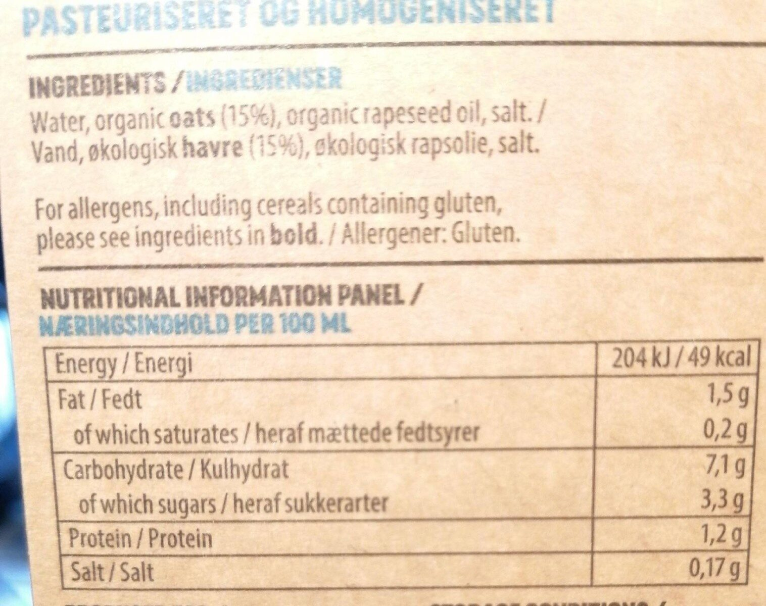 Nordic Oat Drink - Nutrition facts - en