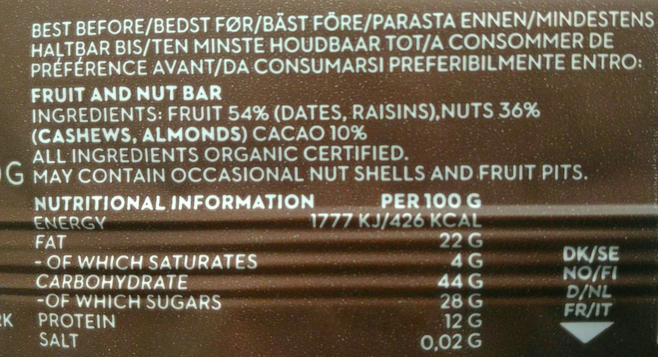 Rohkost Riegel - 12X50G - Kakao - Ingredients - fr