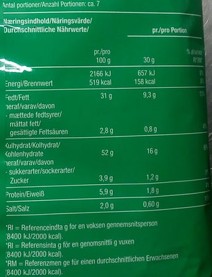 Snaxters Sour cream & Onion - Nutrition facts