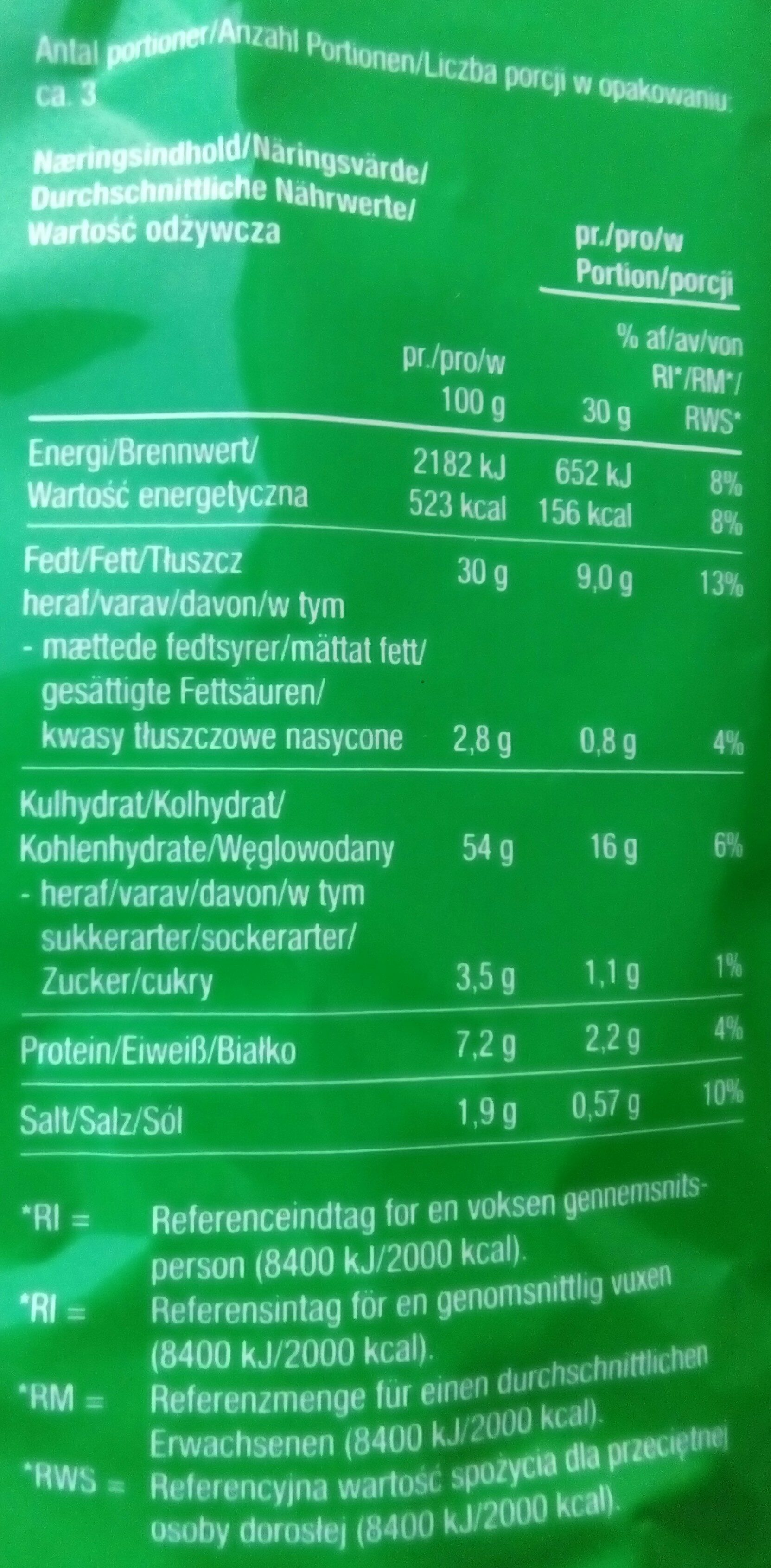 Snaxters Onion Rings - Nutrition facts
