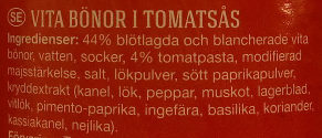 Harvest Best Baked Beans In Tomato Sauce - Ingredients