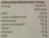 Mamone Vetemjöl - Nutrition facts