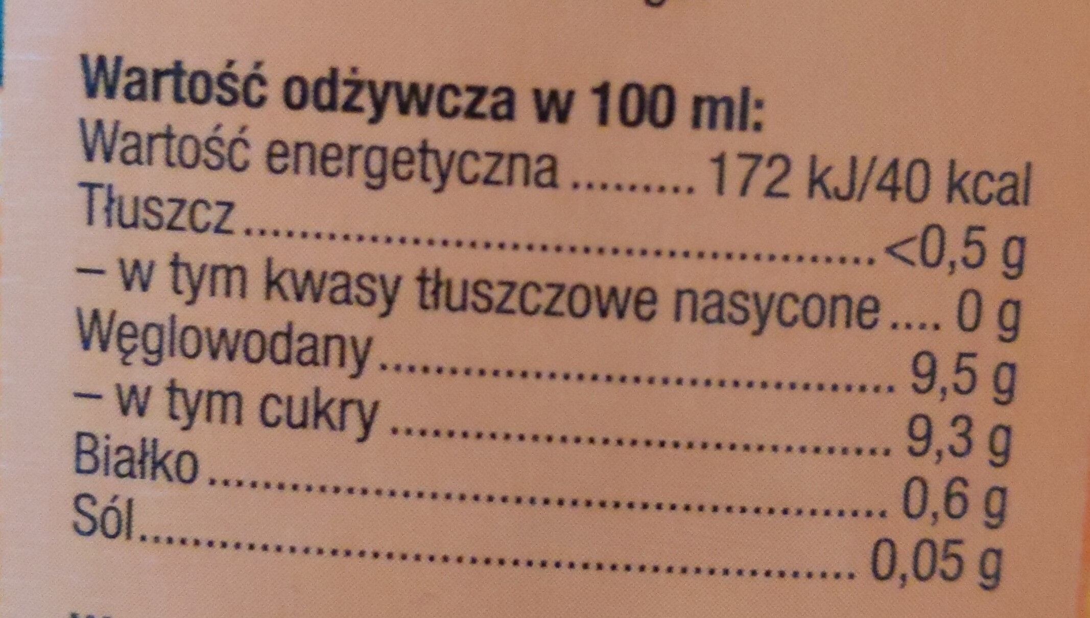 Kingsway Sok Pomarańczowy - Wartości odżywcze - pl