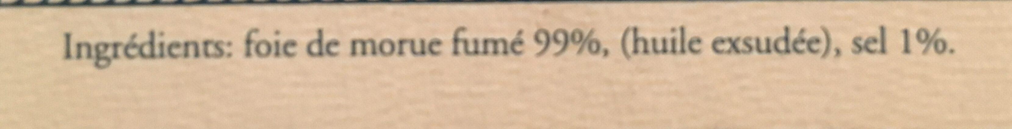 Foie De Morue Fumé, 121 Grammes, Marque Albert Ménès - Ingrédients