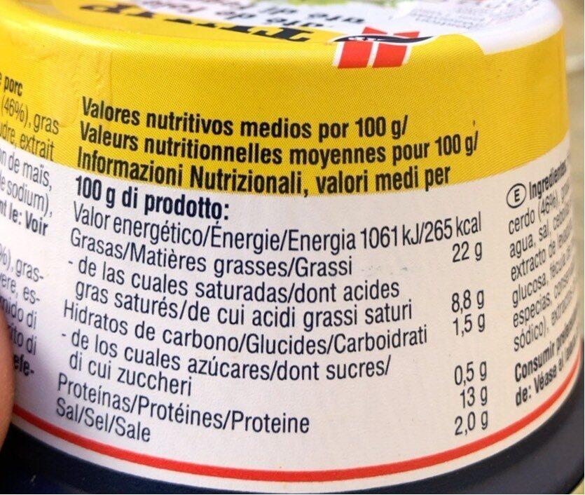 Bouquet Foie 125G Tulip - Informations nutritionnelles - es