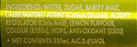 Jolly Shandy (Lemon Flavoured) - Ingredients