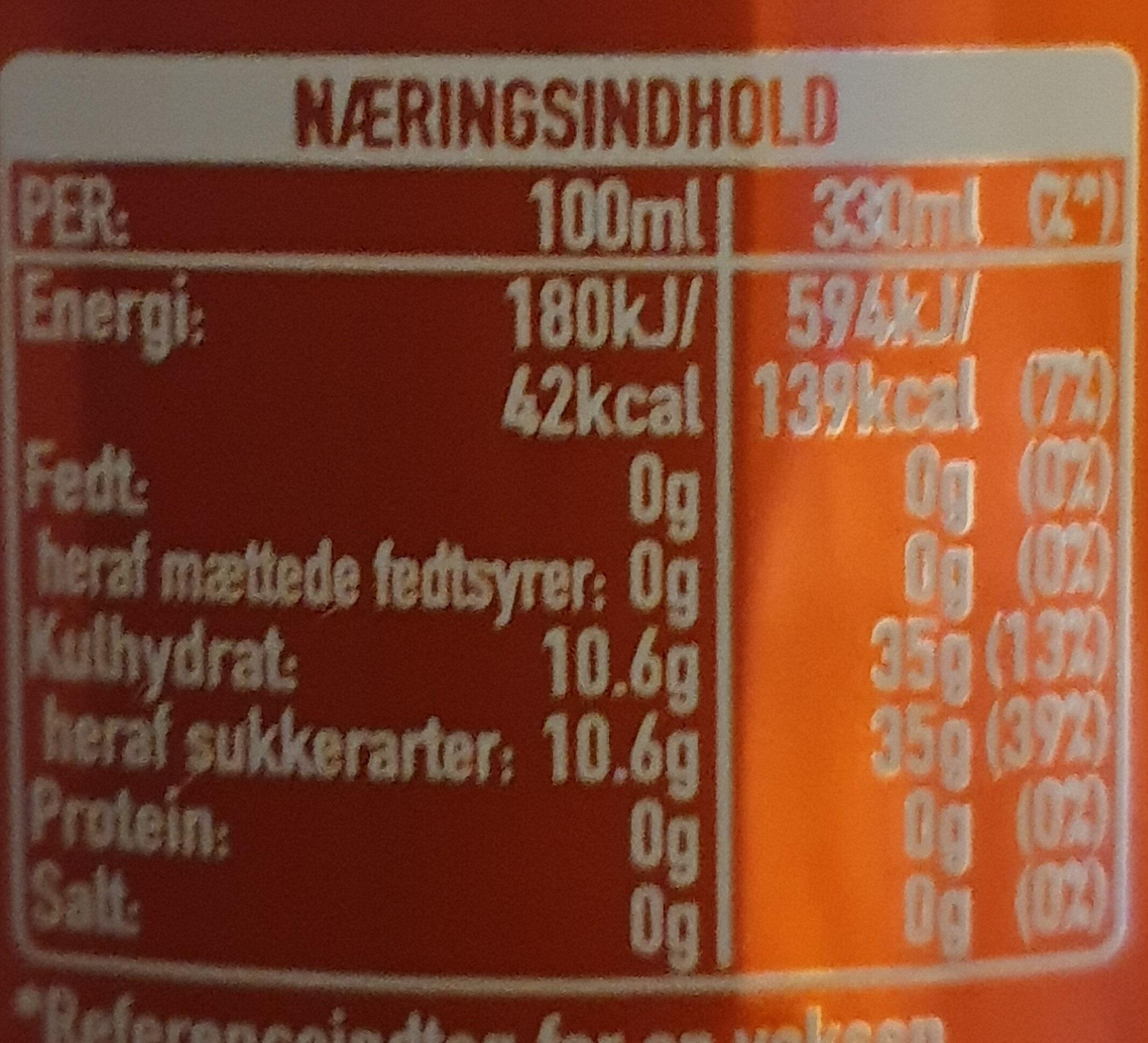 Original Taste Coca-Cola - Ernæringsfakta - da