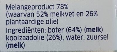 Roomboter met Koolzaadolie, ongezouten - Ingredients - nl