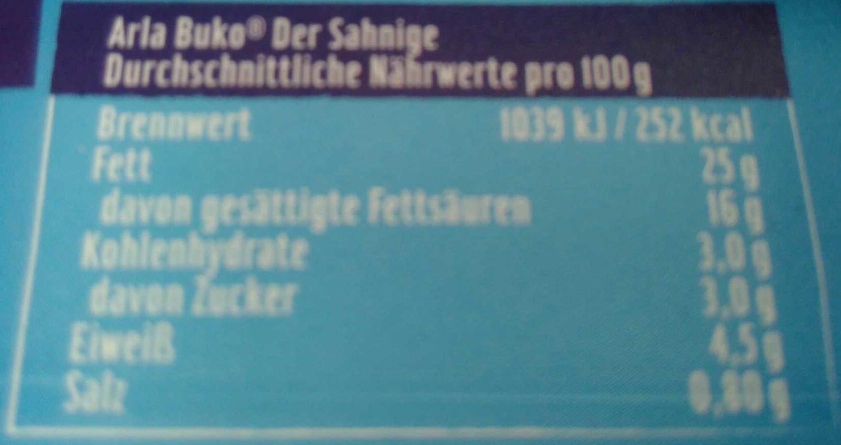 Buko Der Sahnige - Voedingswaarden - de