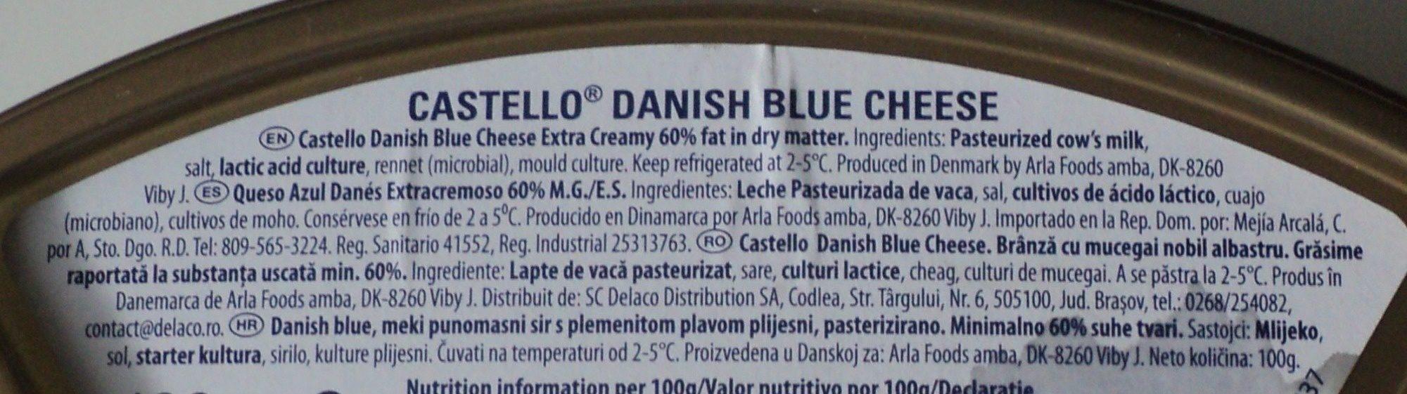 Castello Danish Blue cheese - Ingredients - ro
