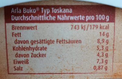 Buko Toskana - Voedingswaarden - de