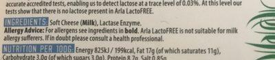 Lactofree Soft Cheese - Ingrediënten - en