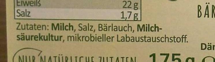Arla Rahmkäse - Bärlauch - Inhaltsstoffe