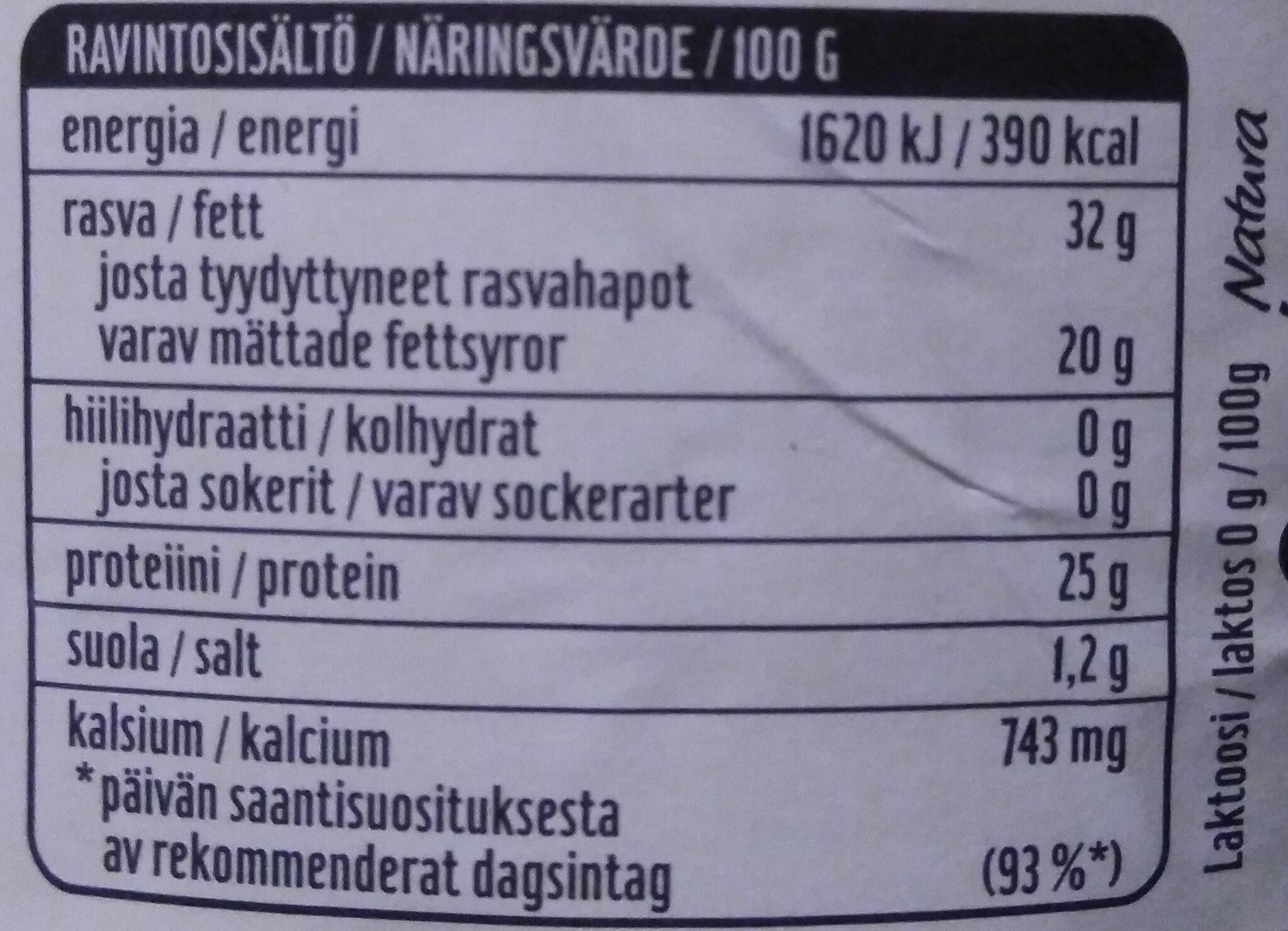 Natura Kermajuusto - Voedingswaarden - fi