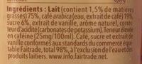 Starbuck frappucino - goût vanille - Ingrédients - fr