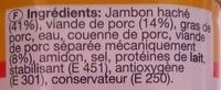 Délice de Jambon - Ingredients