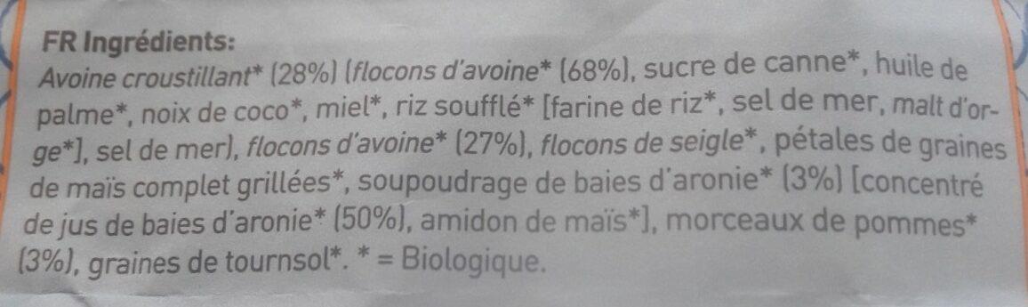 Muesli d'aronie croustillant à l avoine - Ingredients