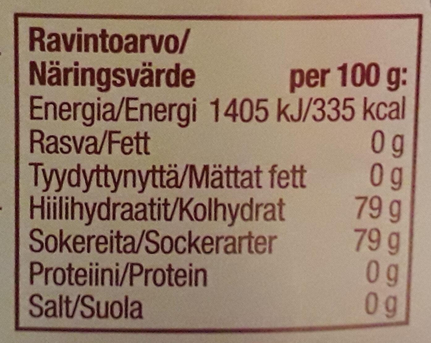 Hunajainen vanijsiirappi - Informations nutritionnelles - fi